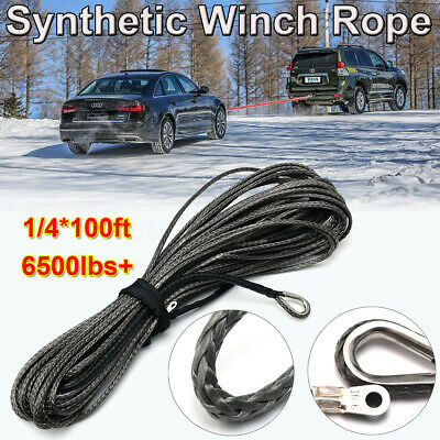 1/4''X100ft 6500lbs Synthetic Winch Rope Cable Line With Sheath ATV UTV Gray US