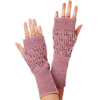 Fashion Women Ladies Girls Fingerless Gloves Warm Gloves Knitted Winter Warmer
