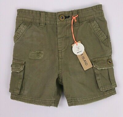 RIVER ISLAND MINI Baby Boys Clothes Green Combat Cargo Chino Shorts  6-9 Months