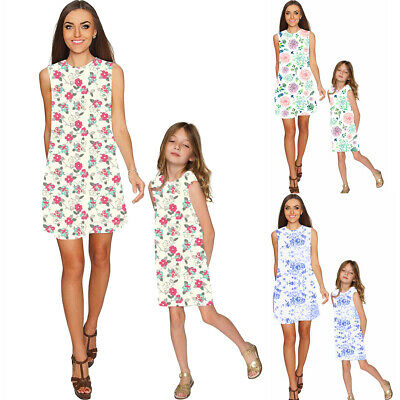 New Ladies Mother Daughter Matching Outfit Baby Girls Dress Womens Kids Dresses