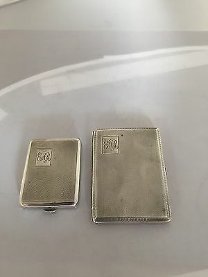 Lovely  Solid Silver Cigarette Case & Match Case Both Chester Hallmarks 1929/30