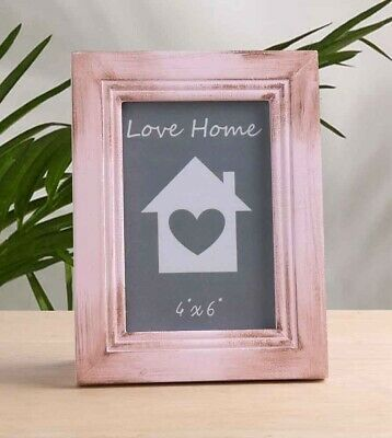 Dusky Pink Wooden Photo Frame Rustic Shabby Chic Vintage