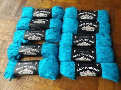 JAEGER RAGS TO RICHES 10x50g CROCHETING BLUE COTTON RIBBON YARN MADE IN ITALY