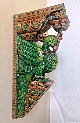 Cute Peacock Bracket Wooden Corbel Architectural Ornament Wall Home Decor Design