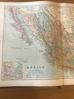 1897, Map of MEXICO, Bacon's Popular Atlas Of The World