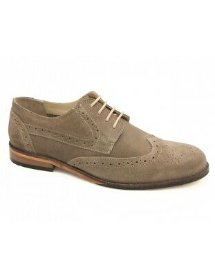 Men's Lotus Larkin Sand Suede Leather Brogue Derby Lace Up Shoes