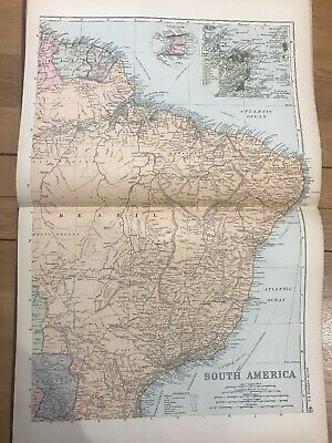 1897, Map of SOUTH AMERICA (North East), Bacon's Popular Atlas Of The World