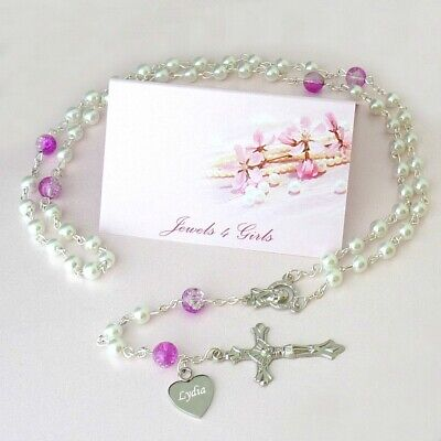 Personalised Rosary Beads, Any Name Engraved, Gift for Baptism, First Communion