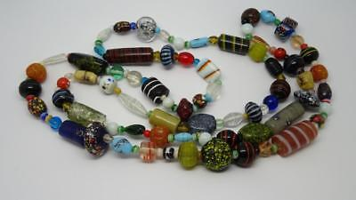 Beautiful Antique Venetian Millefiori Murano Glass Trade Bead Necklace 48 inch