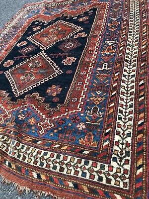 """ANTIQUE  PERSIAN   TRIBAL  RUG      4' 5"""" X 5' 9""""   LATE 19th- EARLY 20th"""