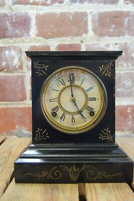 Vintage Antique 1800's Ansonia Iron Mantel Clock Working