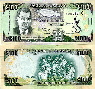 GIAMAICA - Jamaica  100 Dollars 2012 50th indipendence (Comm) FDS - UNC