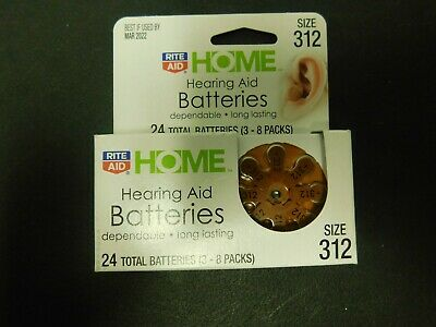 Rite Aid home hearing aid batteries size 312 expires March 2022 NIB free shippin