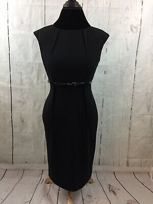 4039864a Calvin Klein Sheath Dress Black Stretch Cap Sleeve Belted Career Exposed  Seams 4