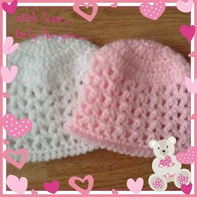 Pair of Premature Baby Hats, Tiny Baby, Reborn Doll, Choice of Colour