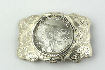 Wade's Silver Shop 925 Buckle w/ 1983 Los Angeles XXIII Olympiad Liberty Coin