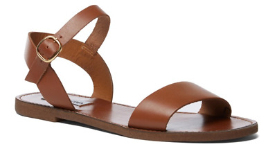91538205276 SIZE 9.5 STEVE Madden Donddi Tan Leather Flat Ankle Strap Womens Sandals  Shoes