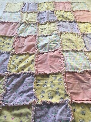 Baby Girl Rag Quilts, Pink Baby Quilt, Rag Quilt, Security Blanket/BoHo