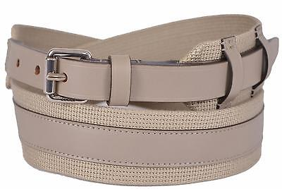 66f95493959 New Gucci Men s  340 341744 BEIGE Fabric Leather Logo Buckle Belt 42 105