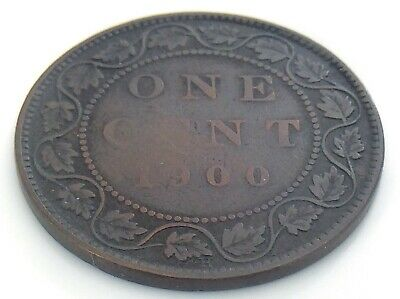 1900 H Canada 1 One Cent Large Penny Copper Circulated Victoria Coin J478