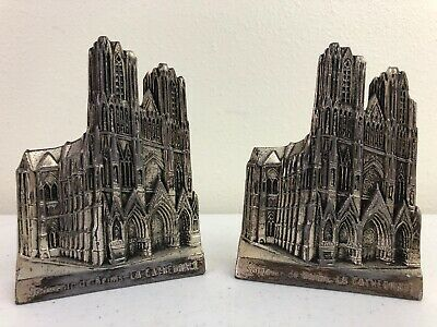 Vtg Notre Dame De Reims Cathedral Metal Paperweights Bookends