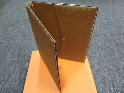 Authentic HERMES Logos Agenda Day Planner Cover Leather Brown France NEW!!