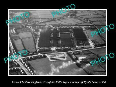 OLD LARGE HISTORIC PHOTO CREWE CHESHIRE ENGLAND THE ROLLS ROYCE FACTORY c1950