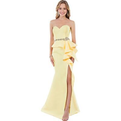 4874a41e6d0 Terani Couture Yellow Prom Beaded Strapless Evening Dress Gown 0 BHFO 4497