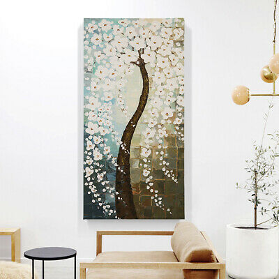 Handmade Abstract Oil Painting Stretched Canvas Home Decor:Flower Tree Framed