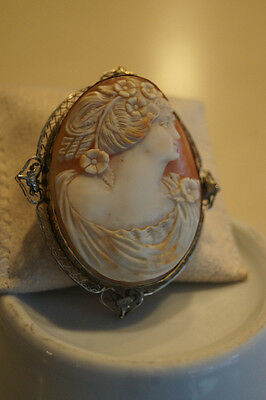 Estate Cameo Brooch 14kt White Gold with Shell Design(SALE SALE)