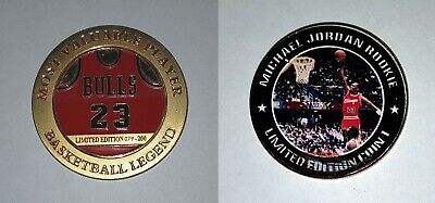 Michael Jordan MVP Rare Rookie Gold 1 Plated Basketball Coin Paint defect