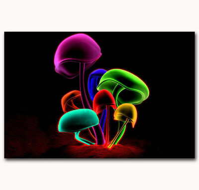 Magic Mushroom Abstract Psychedelic Trippy Cover Fabric Decor Poster B56