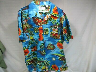 3872257b Vintage Sutton Place Men's Hawaiian Shirt Button Down Sz L Hibiscus Hula  Girl
