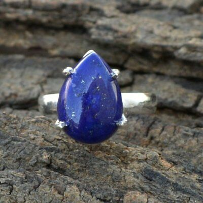 a7fecd296 Genuine Lapis Lazuli Gemstone 925 Sterling Silver Handmade Pear Gift Ring  Size 7