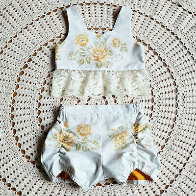 New Summer Kids Baby Girl Clothes Flower Tank Top Vest + Short Pants Outfits Set