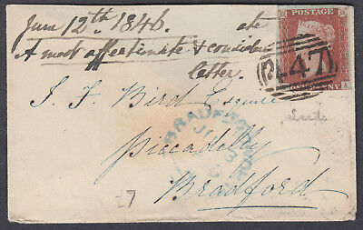 1846 Leeds 447 Numeral to Piccadilly, Bradford; 1d 3M Imperf SG 8?; missing flap