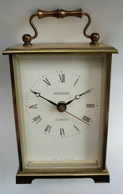 Vintage Retro Metamec Brass Quartz Carriage Clock Battery Operated British Made