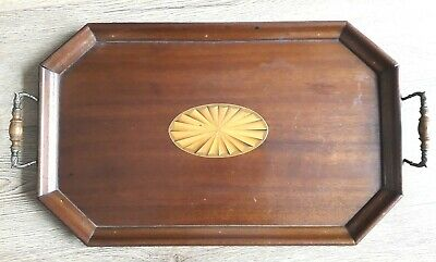 Large Antique Edwardian Wooden Butlers Tray Box Wood Inlay - Superb Quality