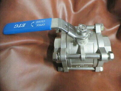 "ETG  3 Piece Ball Lever Valve Stainless Steel DN50 2"" 1.4408 PN69 Socket Weld"