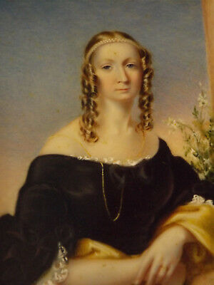 Large Miniature Portrait Of A Victorian Lady Att. Alicia H. Laird