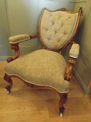 Carved Walnut Victorian Library Arm Chair New Upholstery C.1860/1880