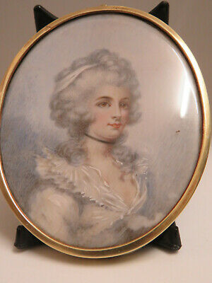 19Th C. Miniature Portrait Miss Perry English School After Cosway