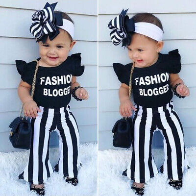 90eebc25d US 2019 Fashion Blogger Baby Girl Outfits Set Ruffle Top Flare Pants  Clothes New
