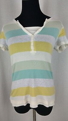 Natural Reflections Women's Green Yellow Gray White Striped SS Top Size Medium