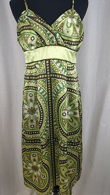 STUDIO Y Silky Multi-Color Patterned Dress Size 5/6 Floral Sundress Beach Fun