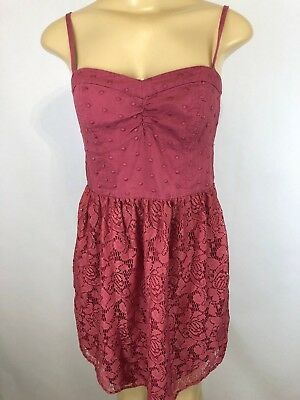 American Eagle Outfitters Womens Size Small Petite SP Coral Lace Short Dress