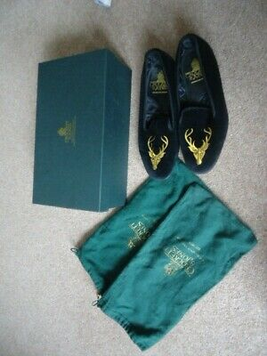 44a2a5f9492a0 CROCKETT & JONES Black Velvet Stag Head Embroidered Shoes Slippers 6.5 ...