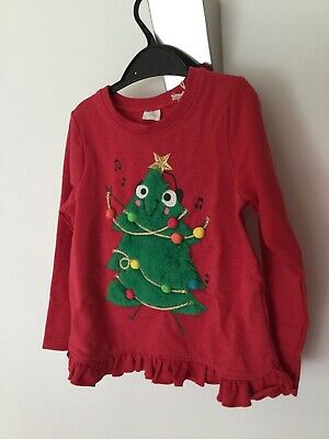Next Girls Christmas Red Top Christmas Tree Green Fleece Tree Pompom S4-5NWT