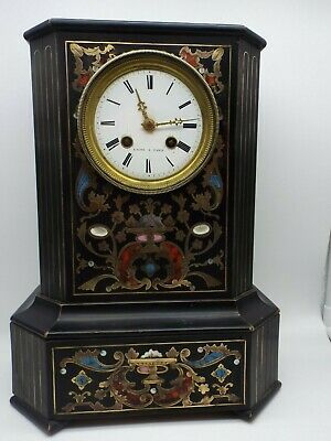 Japy freres stamped mantle clock Wooden Case Boulle inlay
