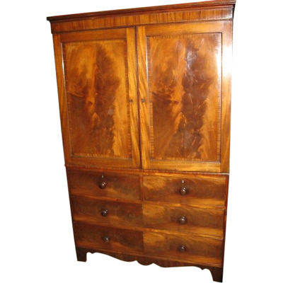 English George III Crossbanded Mahogany 4 Drawer Linen Press
